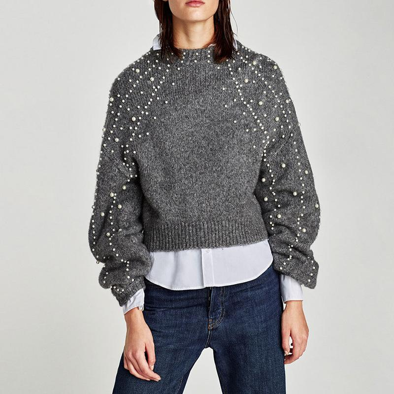 Women Fashion Pearl Long-sleeved Sweater