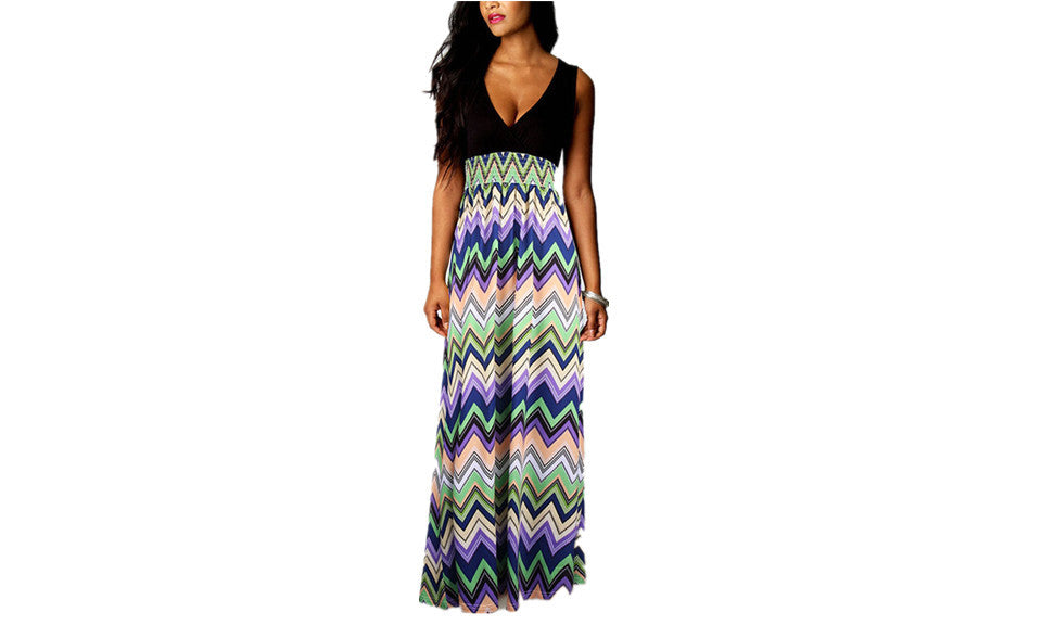 Blaze of Flowers Sleeveless Maxi Dress - FIREVOGUE