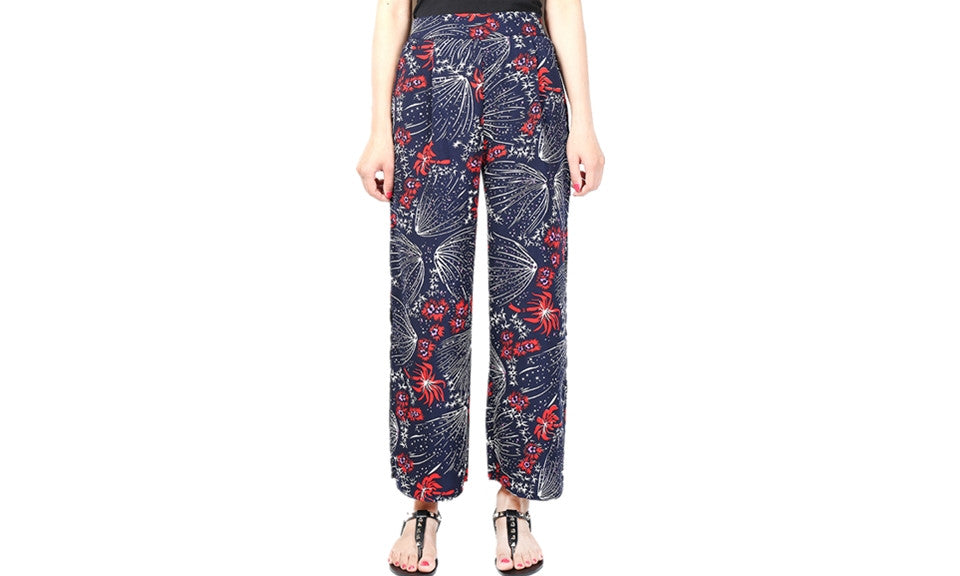 Floral Printed Wide Leg Trousers - FIREVOGUE