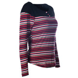 Multi-color Stripes Splicing Shoulder Top - FIREVOGUE