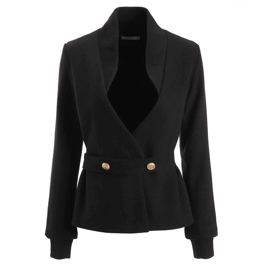 Popular Womens V-neck Short Outwear Jacket Coat