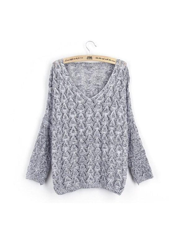 Early Spring&Autumn Needed V-neck Sweater