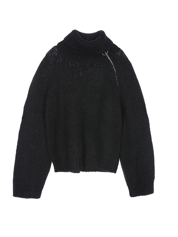 Absolutely Unique Zipper Design Turtleneck Sweater
