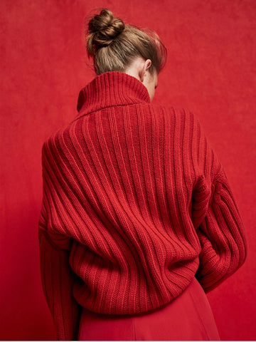 Hot Red Casual Long sleeved Sweater