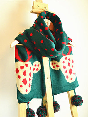 Christmas Deer and Dots Print Knitted Scarf with Fluff Ball - FIREVOGUE