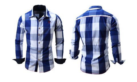 Men's Slim Fit Plaid Button Down Shirt - WealFeel