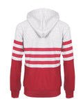 Red Striped Grey Hooded Sweatshirt - FIREVOGUE
