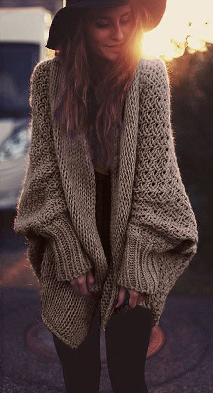 Khaki Open Front Sweater - FIREVOGUE