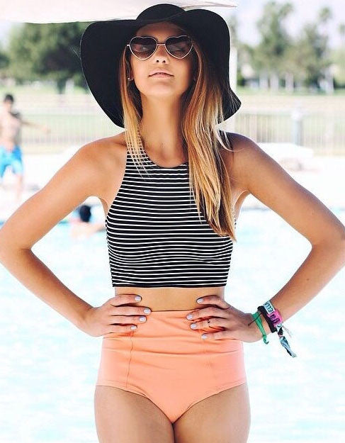 Stripes Bikini Top and High Waist Bottom Two Piece Suit - FIREVOGUE