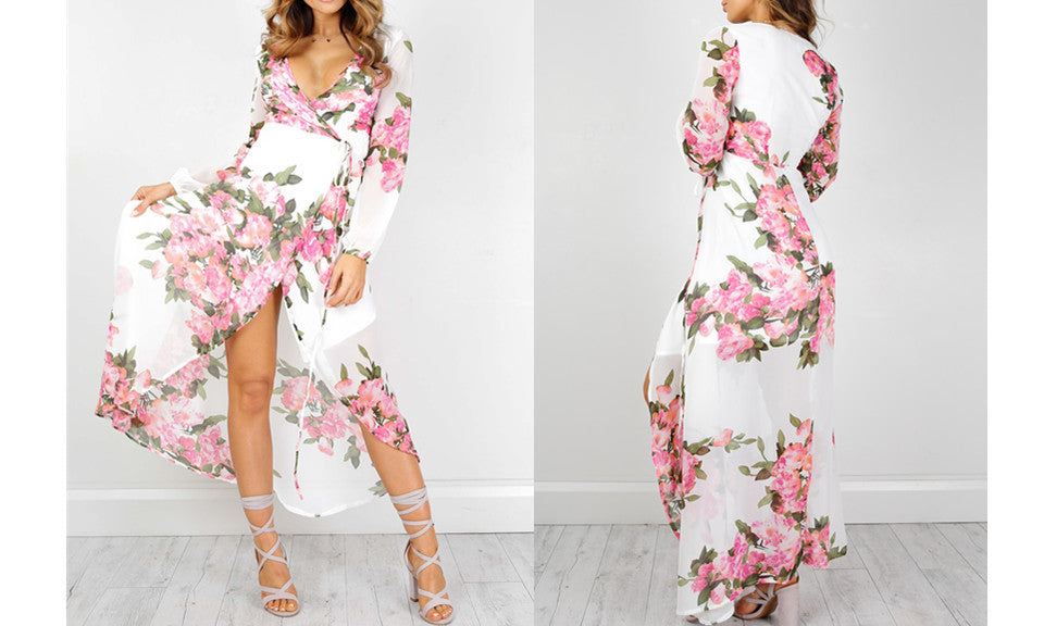 Rose Garden Floral Maxi Dress - FIREVOGUE