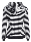 Plus Velvet Thick Striped Hooded Sweater - FIREVOGUE