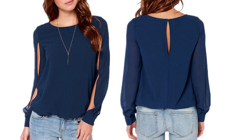 New Autumn Fashion Casual Hollow Out Chiffon Blouse