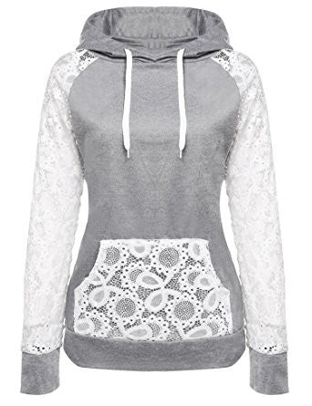 Gray Day Needed Sweatshirt Hoodie With Lace Pocket&Sleeves - FIREVOGUE