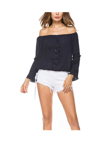 Break The Silence Lace up Front Blouse