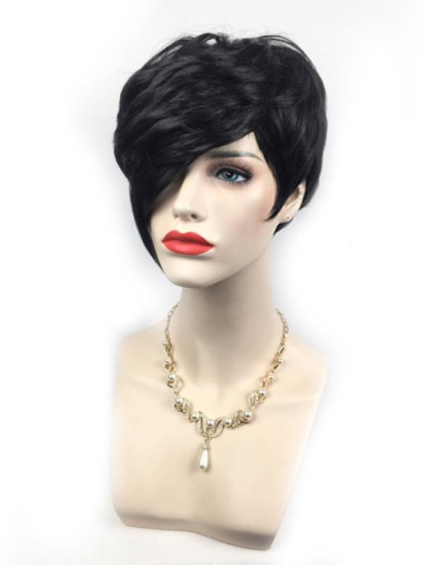 Women Trendy Short Black Wig