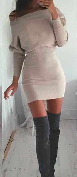 Khaki Boat Neck Bodycon Dress - FIREVOGUE