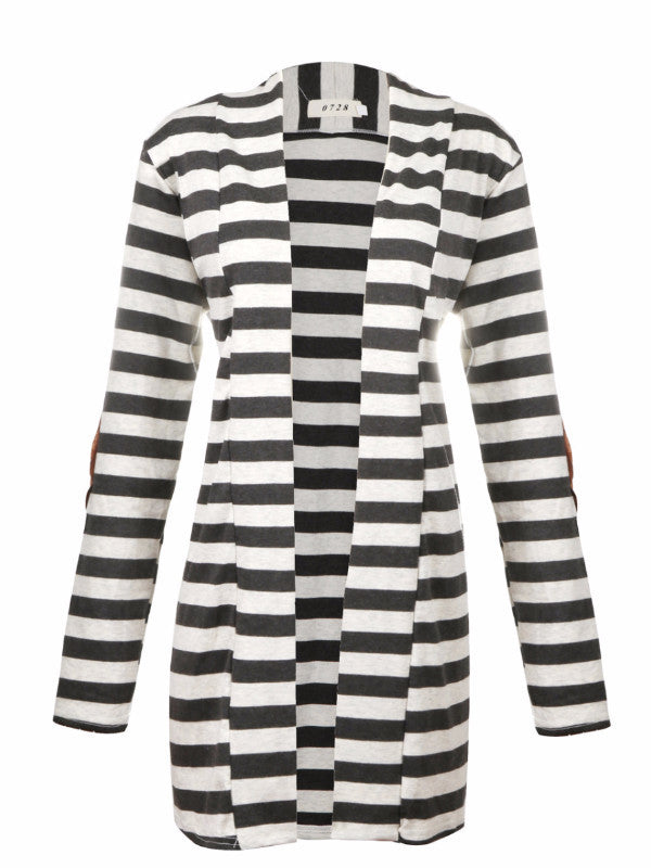 Open Front Stripe Cardigan with Elbow Patch