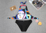 Colorful Crop Bikini Top and Black Bottom Two Piece Suit - FIREVOGUE