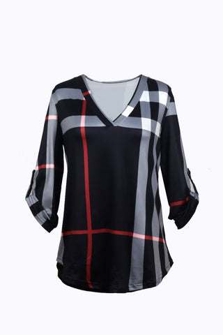 Plaid to the Bone V Neck Shirt - FIREVOGUE