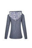 Grey Hooded Long Sleeve Blue Print Sweatshirt
