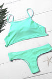 Solid Color High Neck Tank Bikini Sets - FIREVOGUE