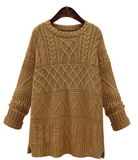 Keep Me Warm Figured Long Sweater - FIREVOGUE