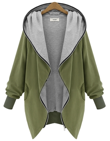 Zip Through Oversize Hooded Coat