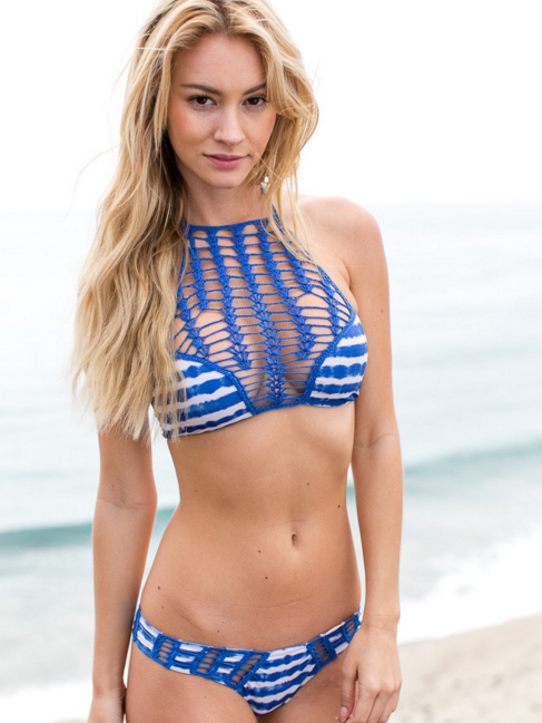 Macrame Breast Bikini Top and Bottom Two Piece Suit - FIREVOGUE