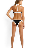 Black White Strapless Bandeau Bikini Sets - FIREVOGUE