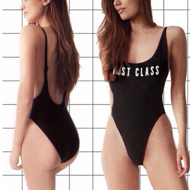 Black Backless One Piece Swimwear - FIREVOGUE