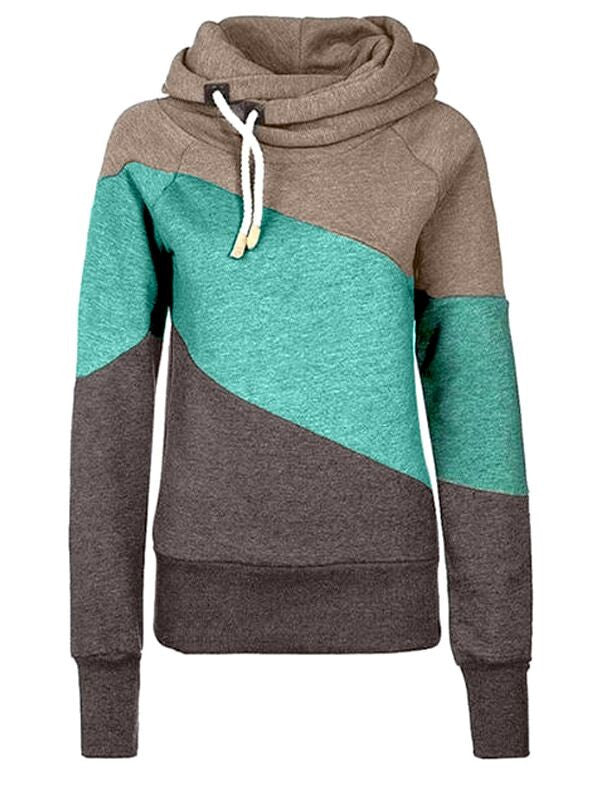 Casual On Street Splicing Hooded Sweatshirt - FIREVOGUE