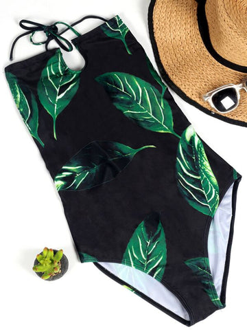 Green Leaf Lace-up Swimsuit