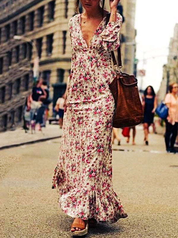 Lowdown Plunging Floral Maxi Dress
