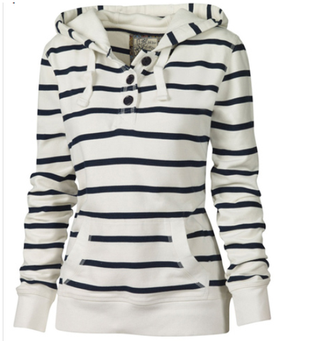 Over the Line Striped Hooded Sweatshirt - FIREVOGUE