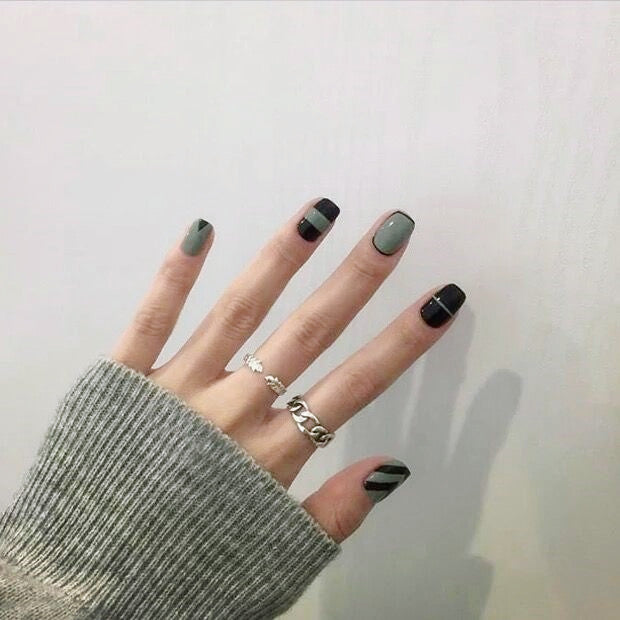 Fabulouse Black&Green False Nails/fake Nails - FIREVOGUE