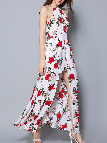 Women's Halter Floral Sleeveless Split Maxi Dress - WealFeel