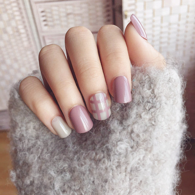 Milk Tea Color Stripe False Nails/fake Nails – FIREVOGUE