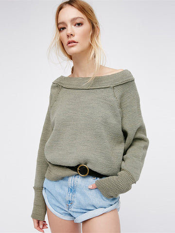 Loose Off-shoulder Pullover Cotton Sweatshirt - WealFeel