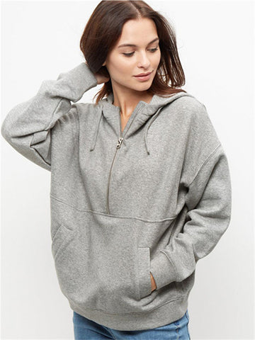 Pure Gray Zipper Front Hooded Sweatshirt With Pocket - WealFeel