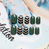 Black- green Stripe False Nails/fake Nails - FIREVOGUE