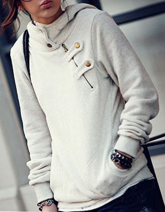 Studs and Zip Detail Jersey Hoodie - FIREVOGUE