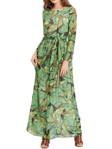 Summer Long Sleeve Green Maxi Dresses