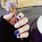 Mixed Color Stripe False Nails/fake Nails