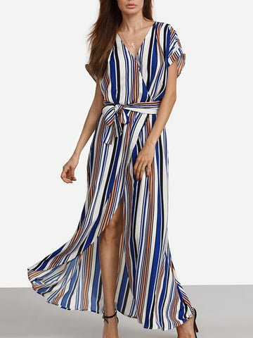 Women Stripe Front Slit Maxi Dress