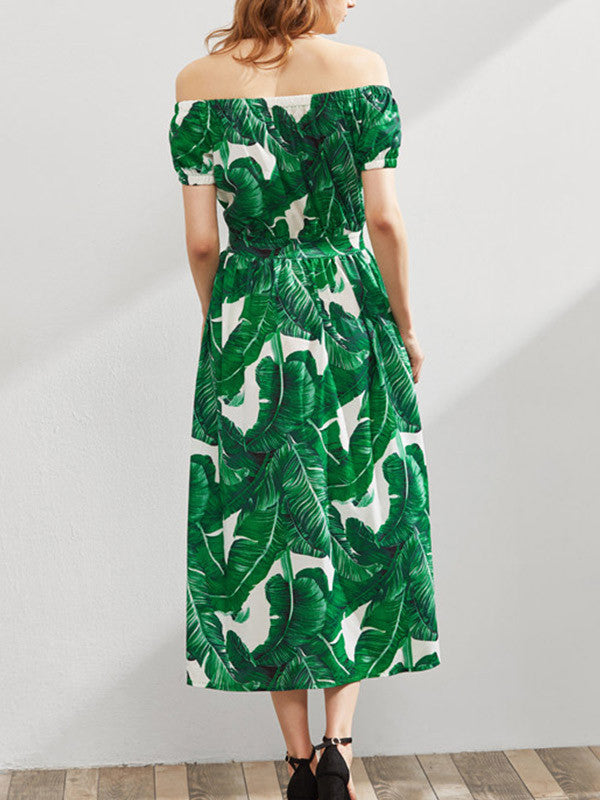 Leaf An Impression Off-the-Shoulder Dress