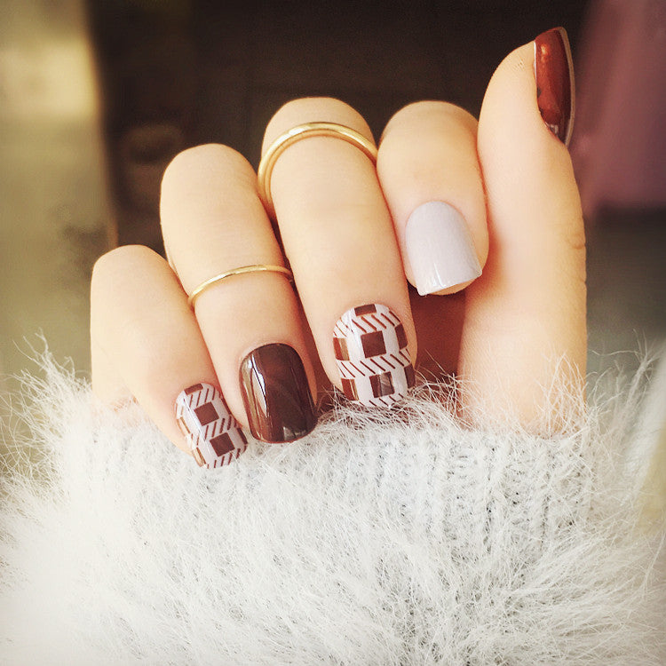 Chocolate Houndstooth False Nails/fake Nails - FIREVOGUE