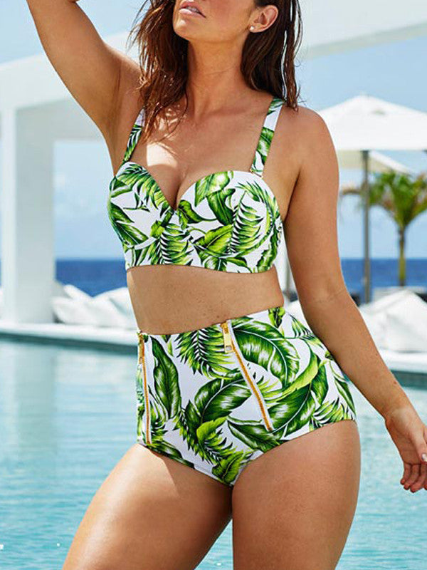 Leaf Printed Side Zipper Two Piece Swimsuit - WealFeel