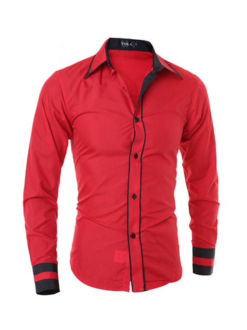 Men's Long Sleeve Mixed Color Blouse