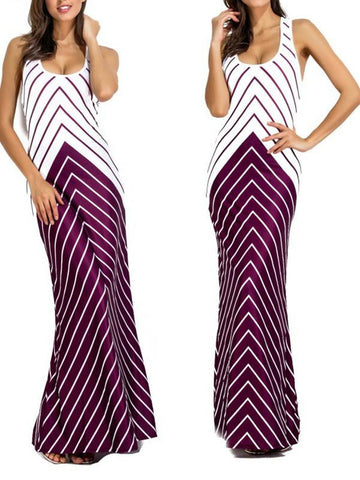 Women Sleeveless Stripe Maxi Dress