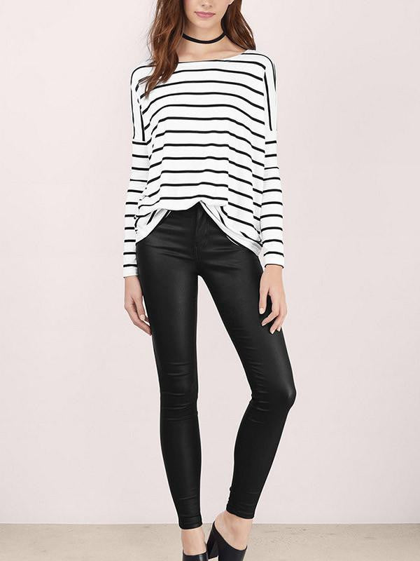 Women Long Sleeve Stripe Casual Top